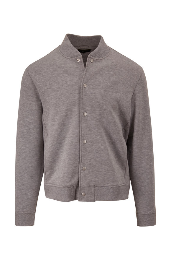 Vince Heather Gray Snap Front Knit Bomber