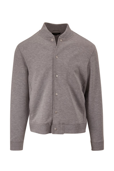 Vince - Heather Gray Snap Front Knit Bomber