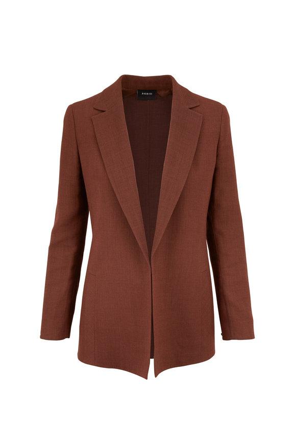 Akris Brown Natty Linen & Wool Crepe Long Jacket