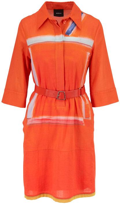 Akris Orange Cotton Crepe Elbow Sleeve Belted Dress