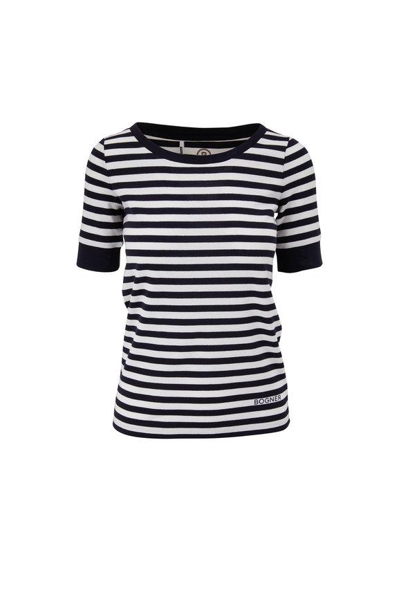 Bogner Jackie Navy & White Stripe Ribbed Cotton T-Shirt