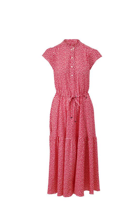 Bogner Lilou Rubin Pink Cotton & Silk Cap Sleeve Dress