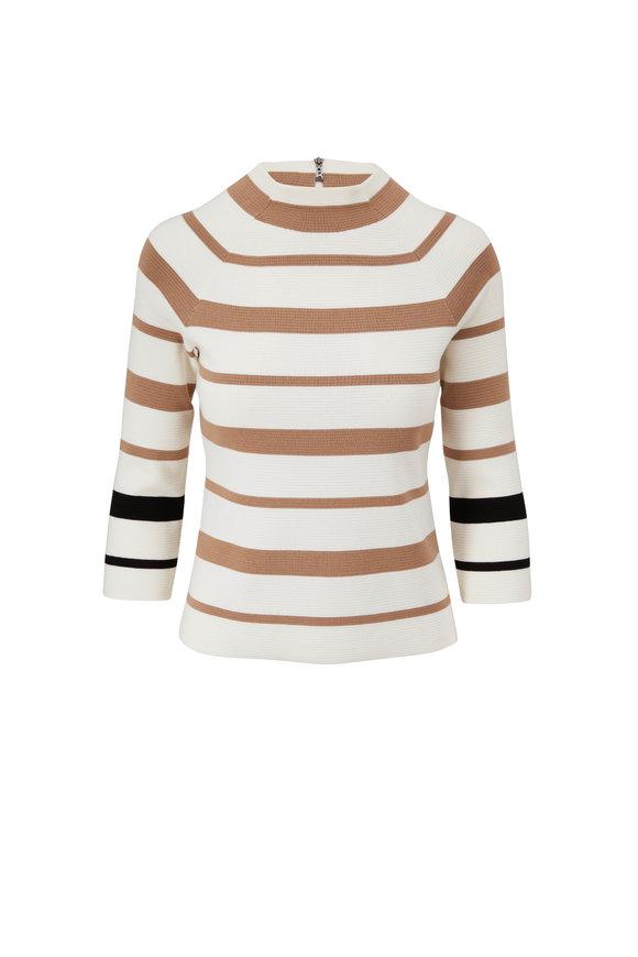 Bogner Silva Eggshell Stripe Long Sleeve T-Shirt
