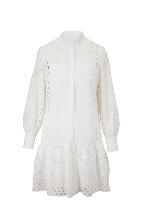 Akris Punto White Cotton Eyelet Long Sleeve Dress