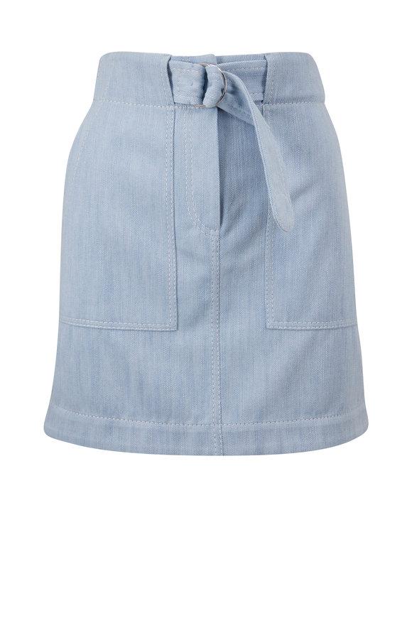 Akris Punto Sun Bleached Denim A-Line Mini Skirt