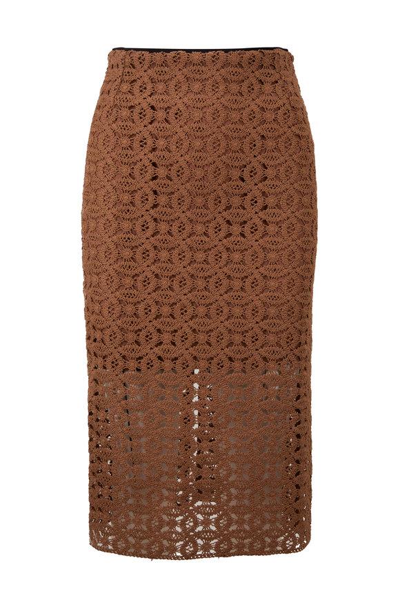 Dorothee Schumacher Bold Statement Chocolate Crochet High-Rise Skirt