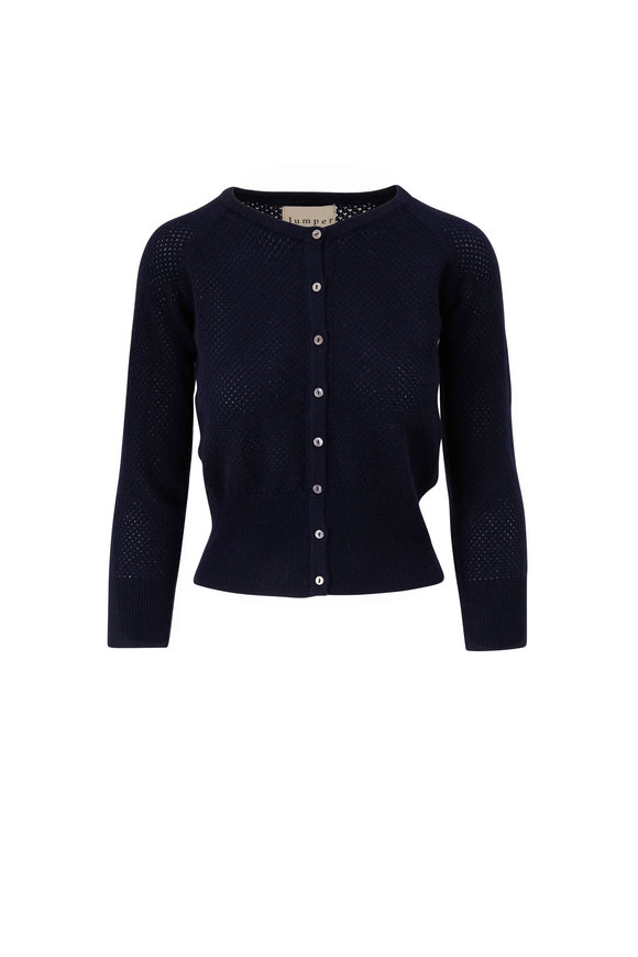 Jumper 1234 Navy Blue Cashmere Open Knit Cardigan