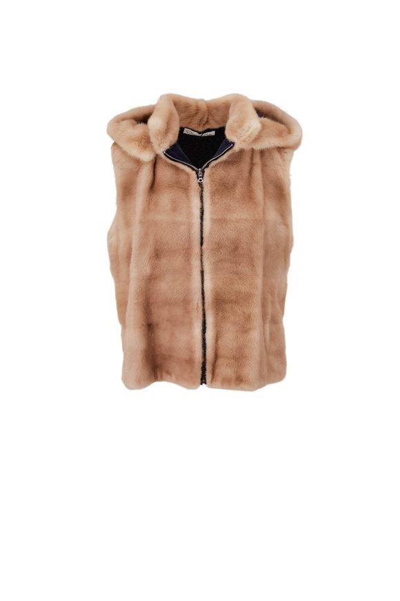 Oscar de la Renta Furs Natural Palomino Mink Hooded Vest