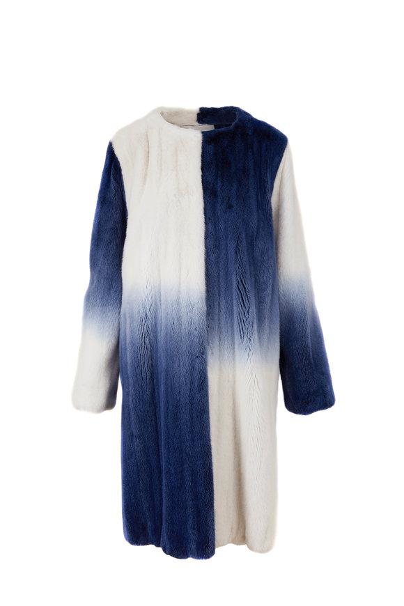 Oscar de la Renta Furs White & Denim Degrade Mink Coat