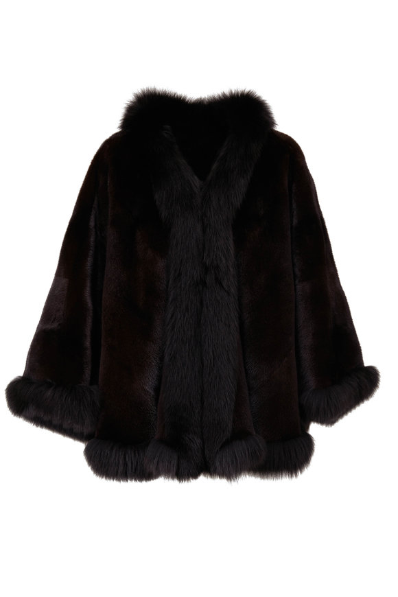Reich Furs Black Ranch Mink & Fox Trim Cape