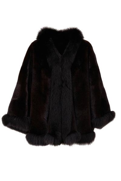 Reich Furs - Black Ranch Mink & Fox Trim Cape