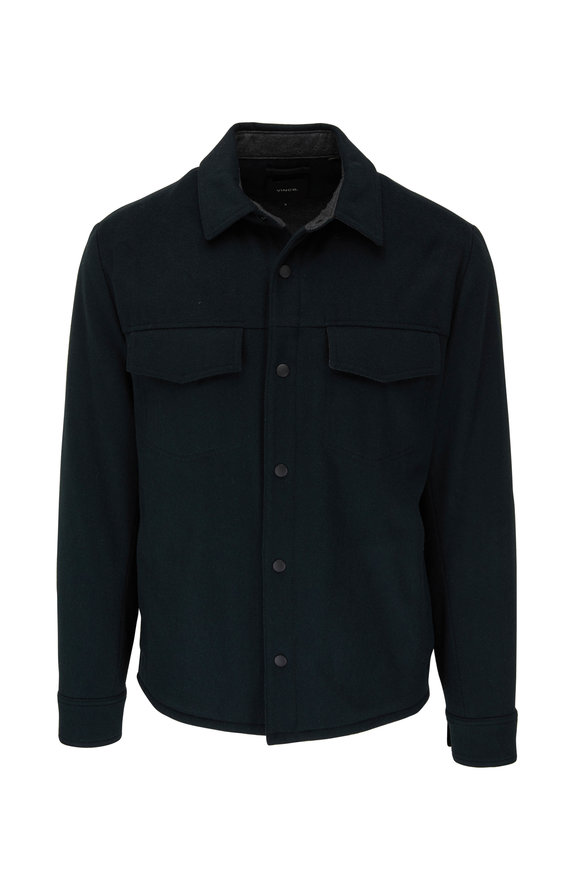Vince Evergreen Stretch Wool Quilted Overshirt