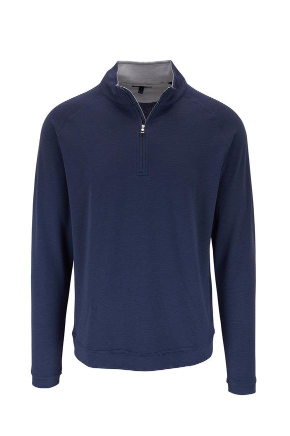 Peter Millar Navy Precision Wool Quarter-Zip Pullover