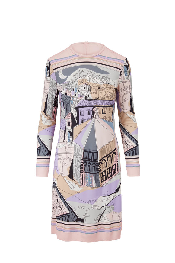 Pucci Marilyn Blush St. Battistero Long Sleeve Dress