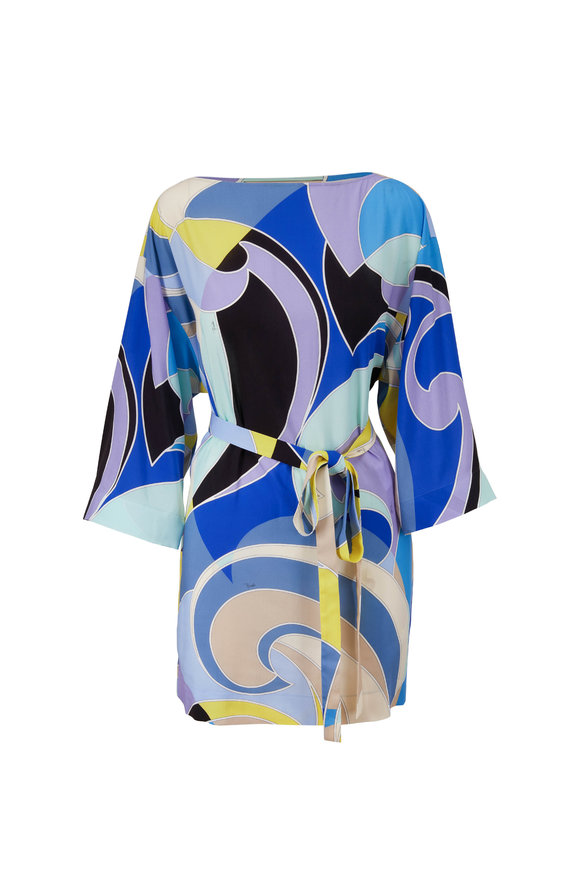 Pucci Blue Print Three-Quarter Sleeve Belted Dress