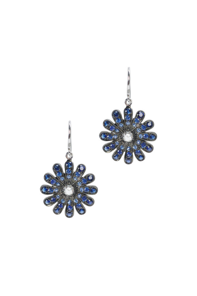 White Gold Blue Sapphire Diamond Daisy Earrings