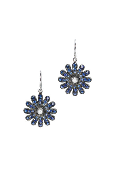 Nam Cho - White Gold Blue Sapphire Diamond Daisy Earrings