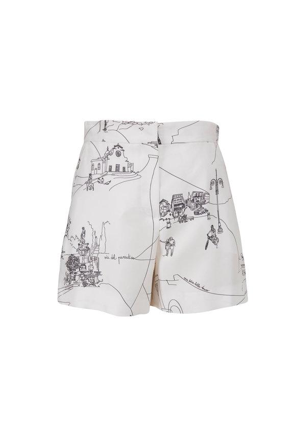 Pucci Scorci Fiorentini Print Black & White Silk Shorts