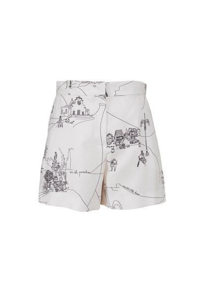 Pucci - Scorci Fiorentini Print Black & White Silk Shorts