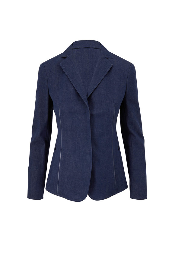 Akris Dark Navy Marled Denim & Leather Trim Jacket