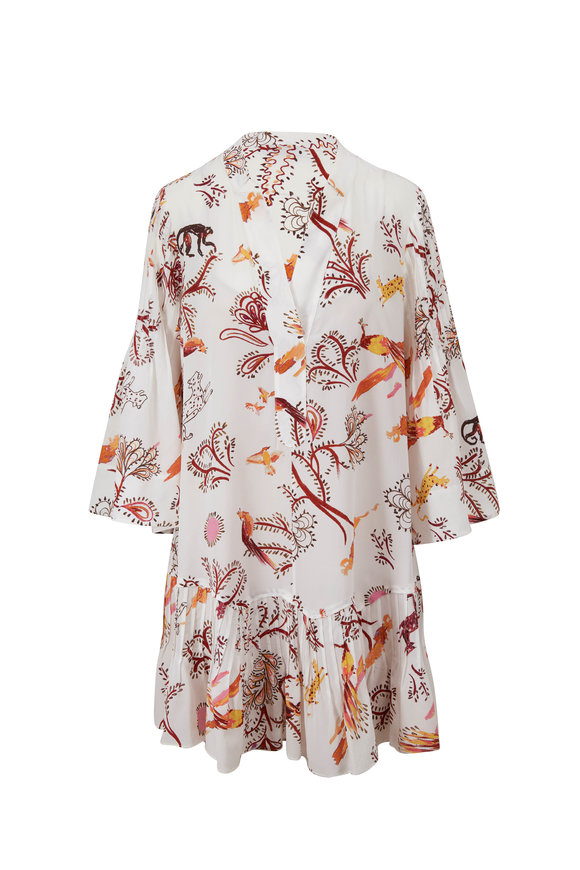 Dorothee Schumacher Tree Of Life Cream Bell Sleeve Dress