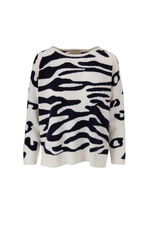 Jumper 1234 Cream & Navy Wild Zebra & Cheetah Cashmere Sweater