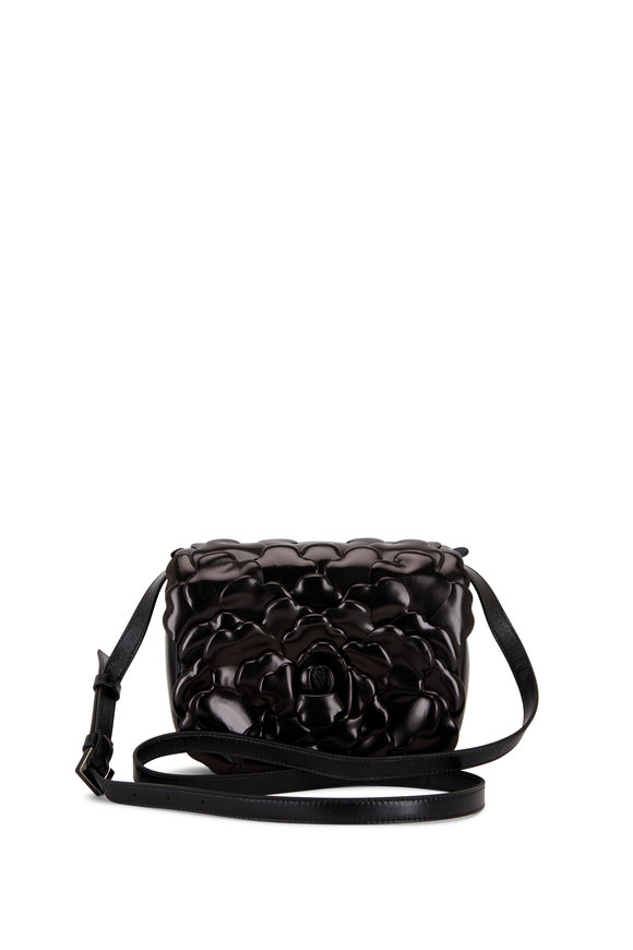 Valentino Garavani Atelier Black Leather Rose Small Shoulder Bag
