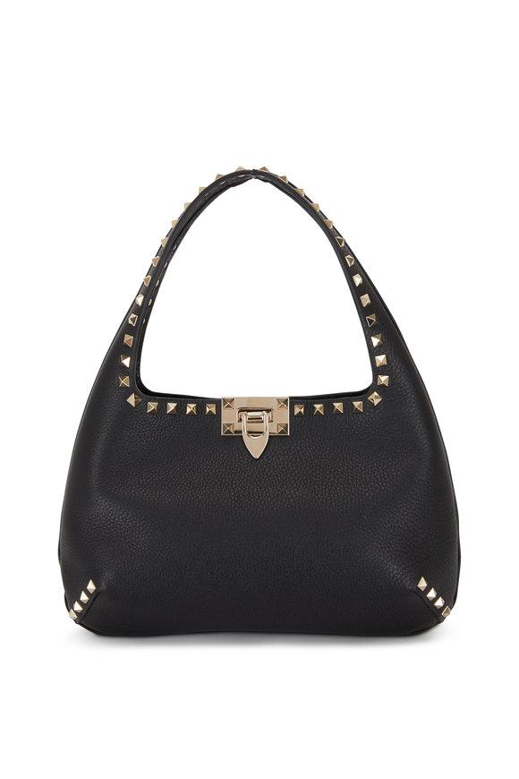 Valentino Garavani Rockstud Black Leather Small Hobo Bag