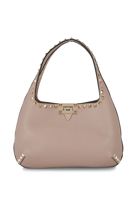 Valentino Garavani Rockstud Poudre Leather Small Hobo Bag