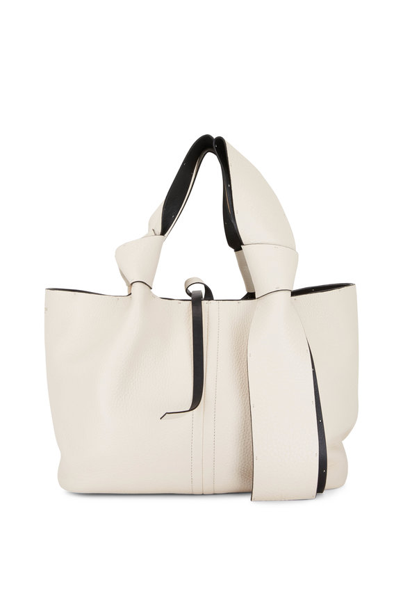 Valentino Garavani Atelier Ivory Small Leather Tote with Bow