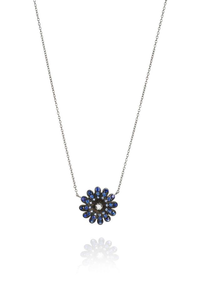 Blue Sapphire White Gold Diamond Daisy Pendant