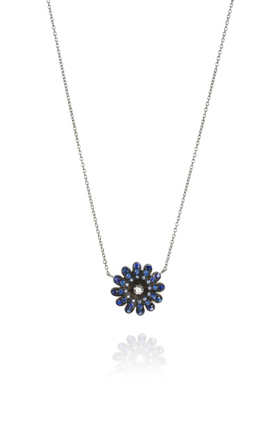 Nam Cho - Blue Sapphire White Gold Diamond Daisy Pendant