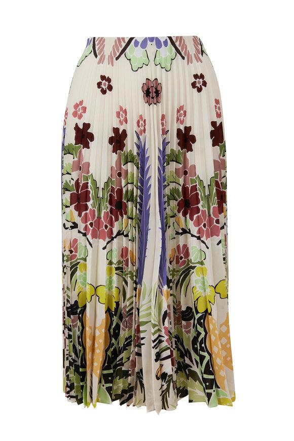 Valentino Multicolor Silk Arrozo Print Pleated Skirt