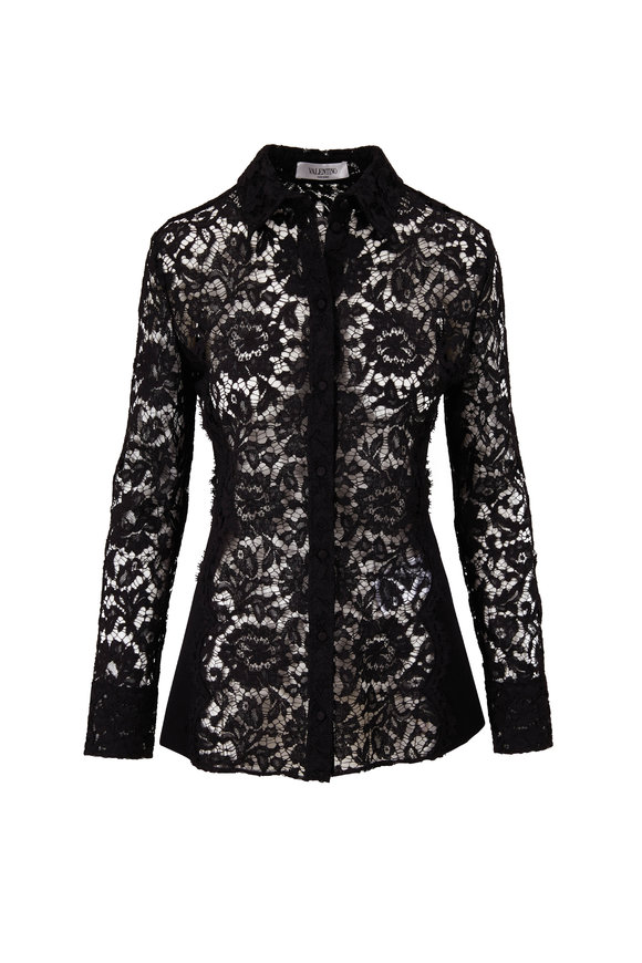 Valentino Black Lace & Ribbed Knit Button Down Shirt