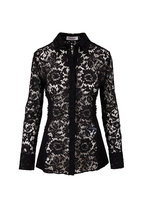 Valentino - Black Lace & Ribbed Knit Button Down Shirt