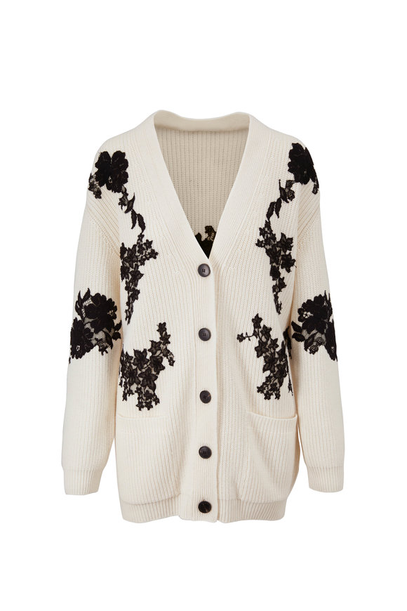 Valentino Ivory Wool & Cashmere Appliqué Cardigan