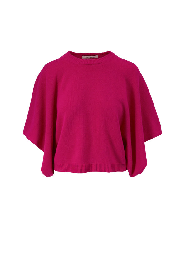 Valentino Orchid Cashmere Draped Sleeve Sweater