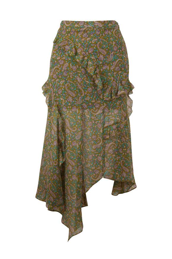 Veronica Beard Eleonora Fern Multi Printed Skirt