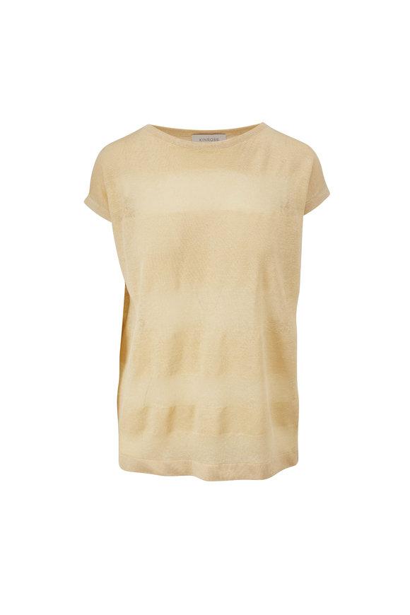 Kinross Raffia Linen Shadow Stripe T-Shirt