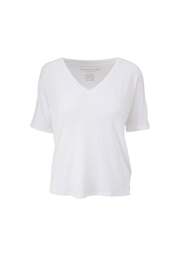 Majestic Blanc Superwashed Soft Touch V-Neck T-Shirt