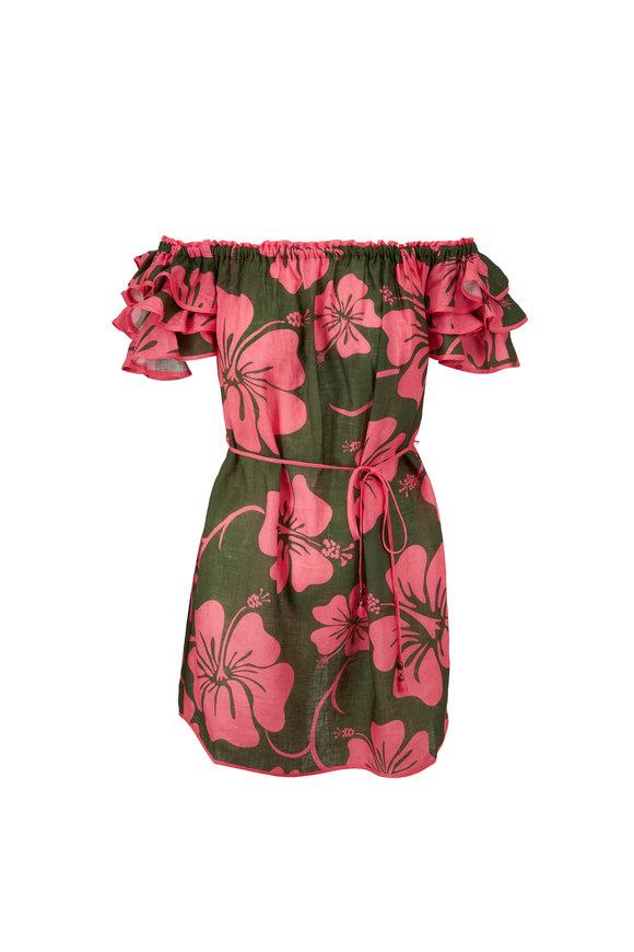 Zimmermann Lulu Pink Hibiscus Ruffle Sleeve Mini Dress