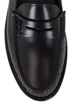 Saint Laurent - Black Leather Moc Toe Penny Loafer