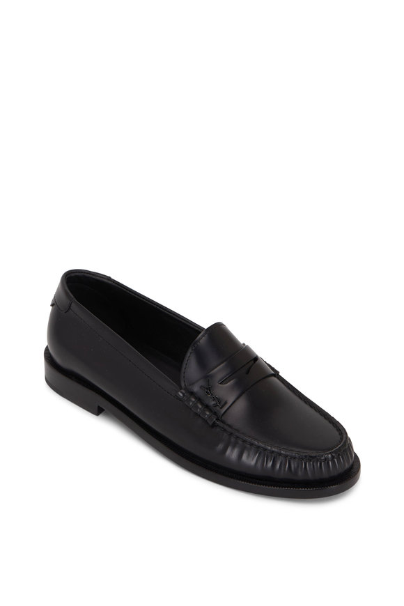 Saint Laurent Black Leather Moc Toe Penny Loafer