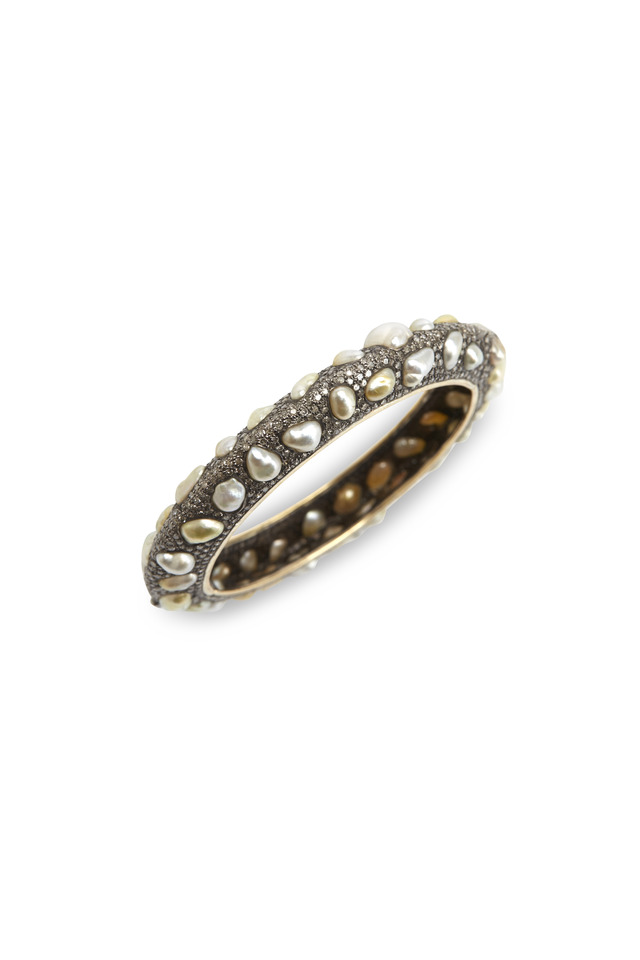 Pave Diamond Pearl Bangle