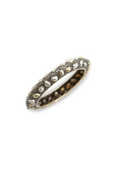 Loren Jewels - Pave Diamond Pearl Bangle