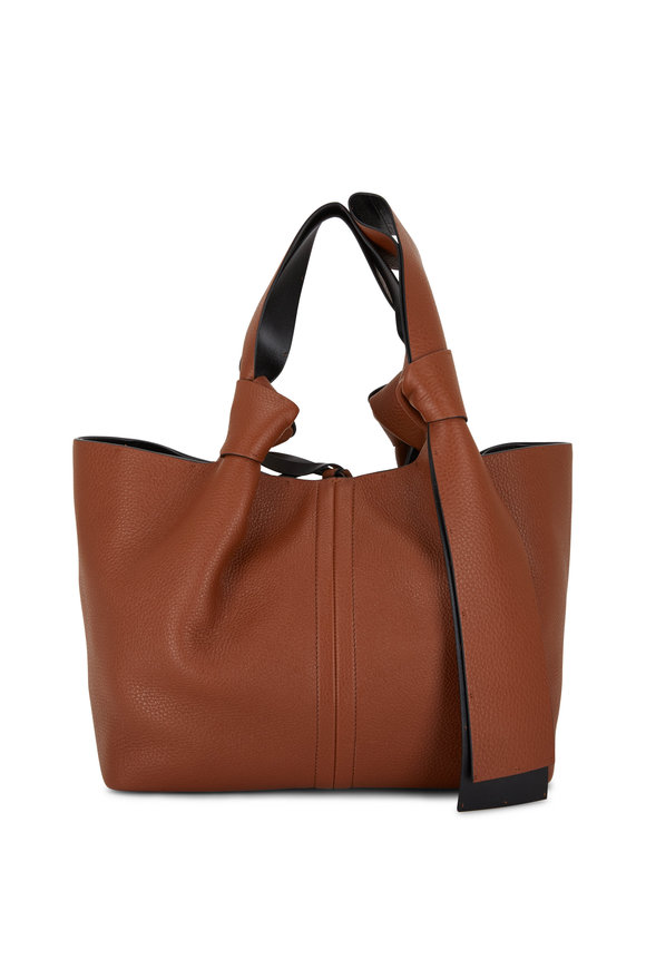 Valentino Garavani Selleria Cognac Leather Small Tote With Bow