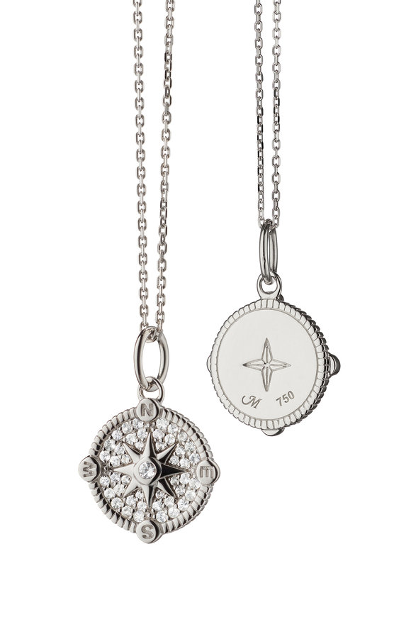Monica Rich Kosann Sterling Silver Pavé Compass Charm