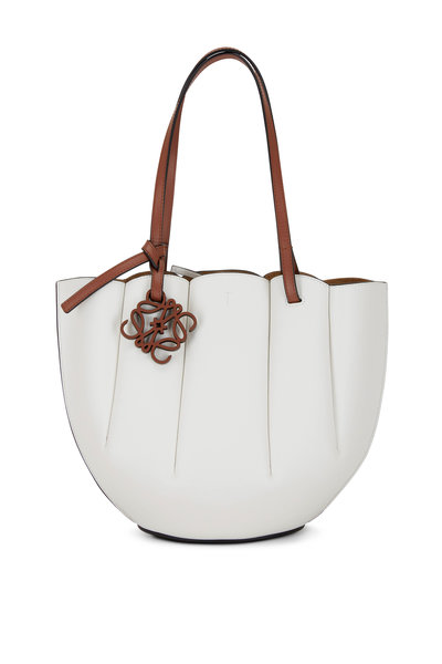 Loewe - Shell Soft White Leather Small Tote