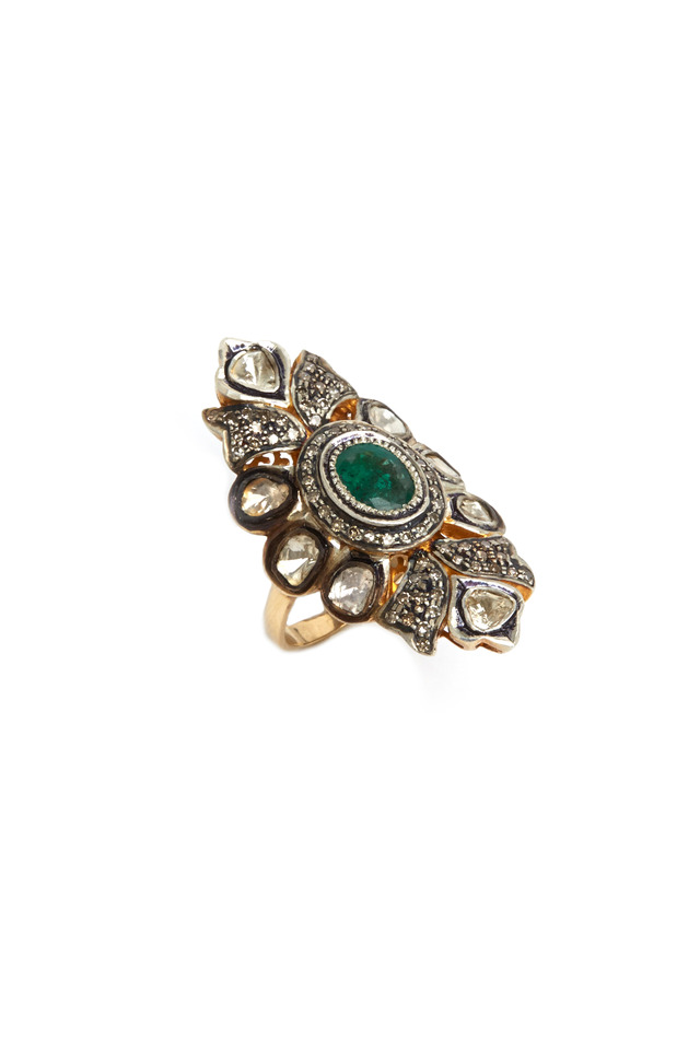 Rose-Cut Diamond And Emerald Ring