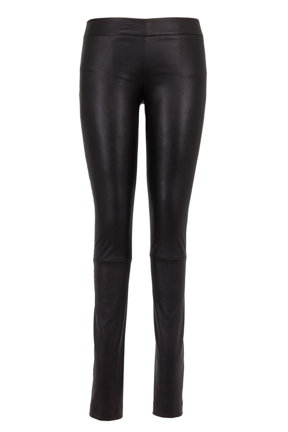 The Row Black Stretch Leather Moto Pants